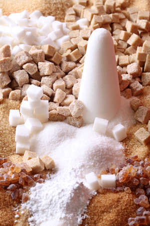 Various kinds of sugar close up photo