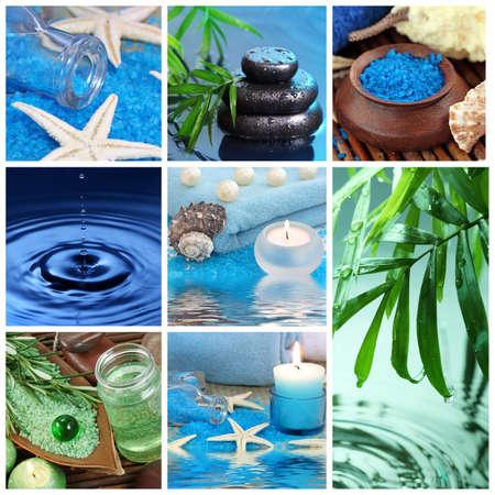 kropla deszczu: Niebieski spa collage Zdjęcie Seryjne
