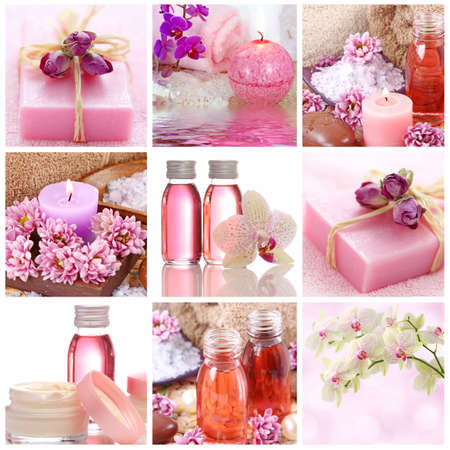 essentials: Pink spa collage Stock Photo