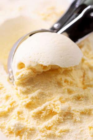 Vanilla ice cream close up photo