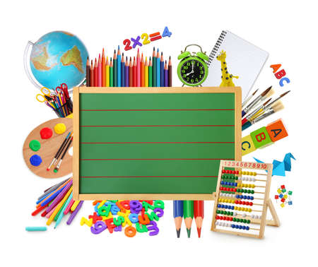 school border: Green chalkboard with school supplies. Stock Photo