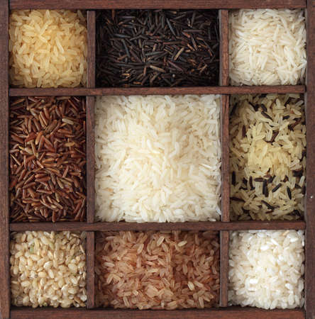 cereal box: Assortment of rice in wooden box