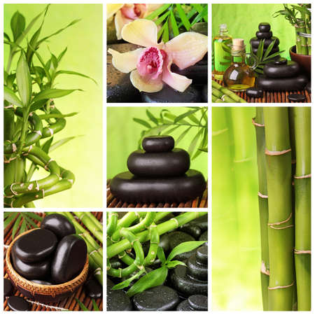 fengshui: Collage of hot stones and bamboo