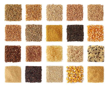 Cereals collection isolated on white background photo