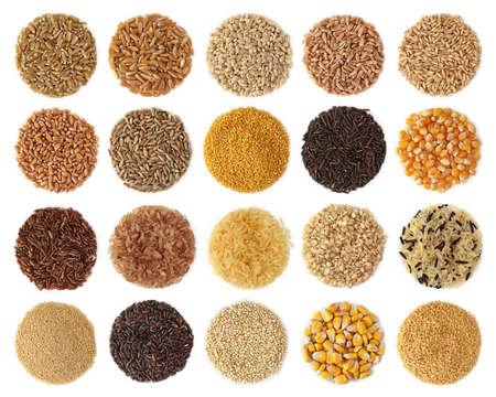 semilla: Colecci�n de cereales aislada sobre fondo blanco