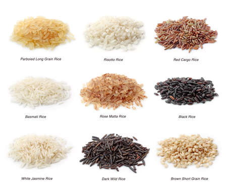 black rice: Rice collection isolated on white background