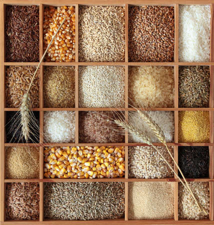 Cereals in wooden box photo