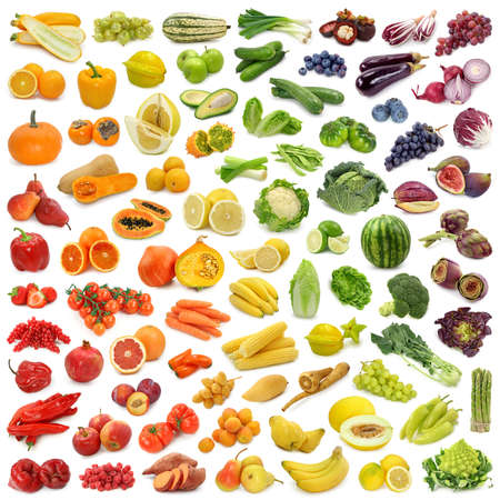 the green papaya: Rainbow collection of fruits and vegetables  Stock Photo