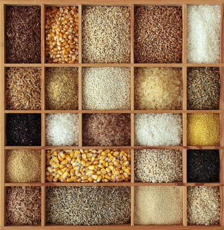 cebada: Cereales en caja de madera