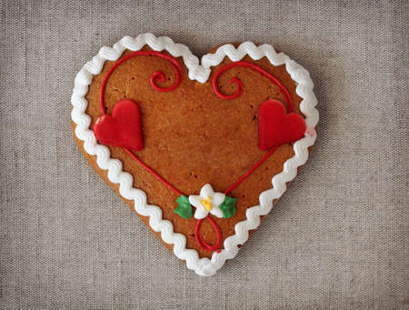 declaration of love: Gingerbread heart with copy space Stock Photo