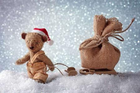 papa noel en trineo: Oso de peluche de Santa
