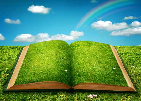 Livre magique ouvert de nature