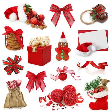 botas de navidad: Navidad colección aisladas sobre fondo blanco