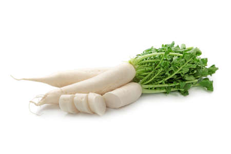 asian produce: Daikon radishes isolated on white background  Stock Photo