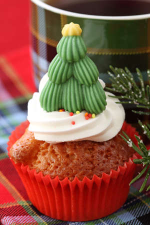 Christmas cupcakes with christmas tree  photo