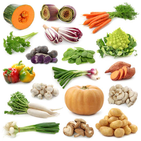 Vegetable collection isolated on a white background.  Stock Photo - 10907434