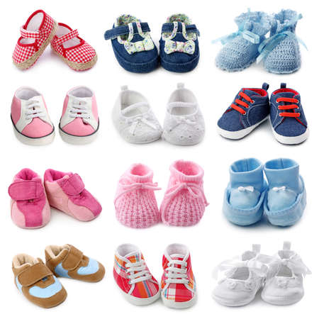 christening: Baby shoes collection Stock Photo