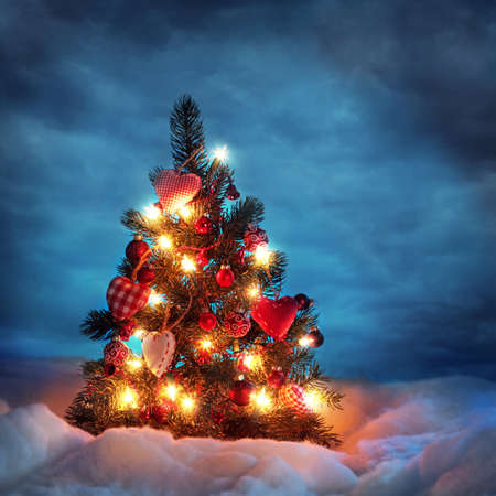 Christmas tree with lights in winter Stock Photo