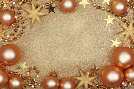 Abstract christmas golden background with baubles Stock Photo - 11152193