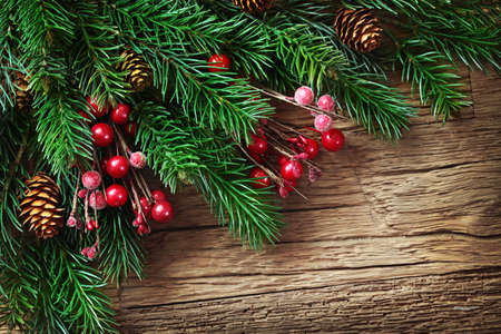 Christmas decorations on wooden background photo