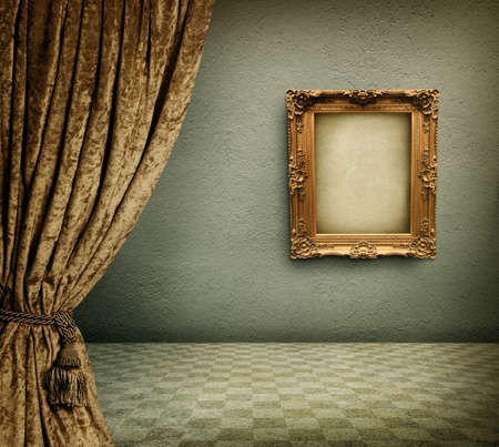 green and gold: Old room with empty picture frame