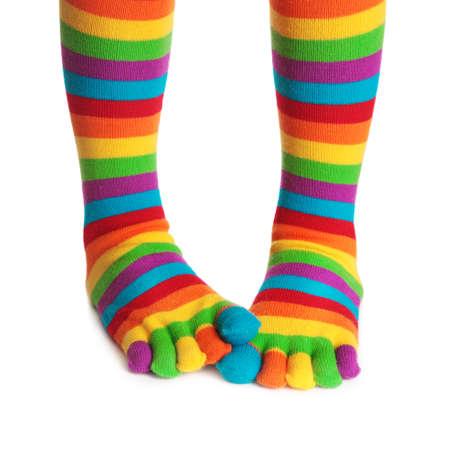 girl socks: 白い背景上に分離されてカラフルなストライプ ソックス 写真素材