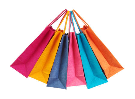 Colorful shopping bags isolated on white background photo