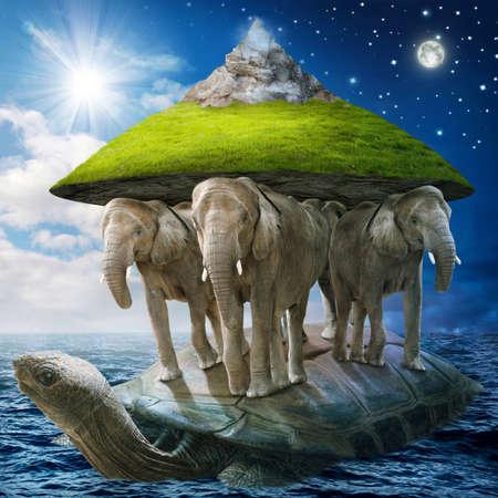 자신의 허리에 땅을 전달하는 코끼리를 들고 세계 거북