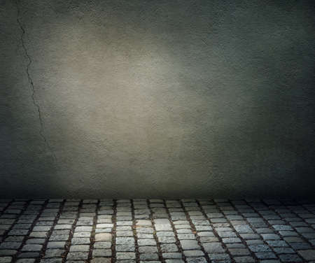 Dark background  with a stone floor photo
