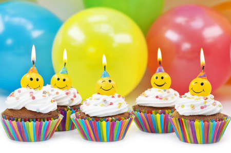 birthday food: Birthday candles on colorful background Stock Photo