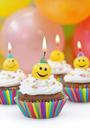 birth day: Birthday candles on colorful background Stock Photo