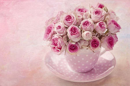 shabby chic: Pink vintage rose on pink background