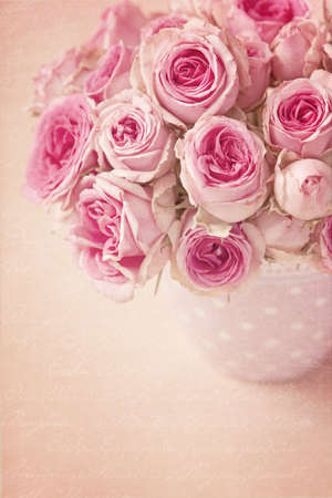 vase color: Pink roses in a vase on pink background Stock Photo