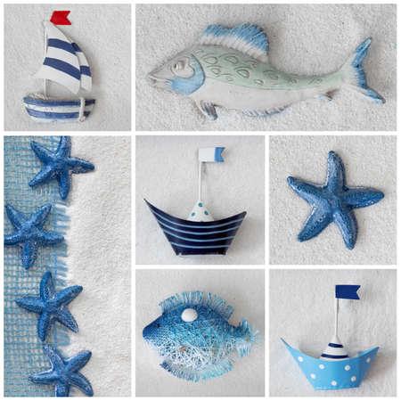 sea star: Collage of summer sea decorotion