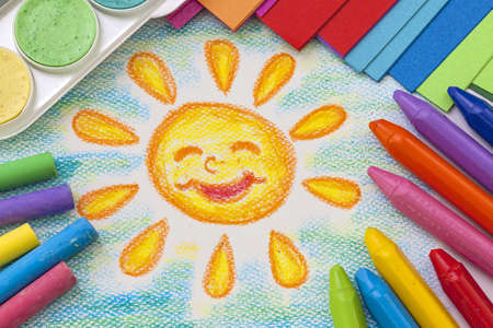 Childs drawing with colorful crayons