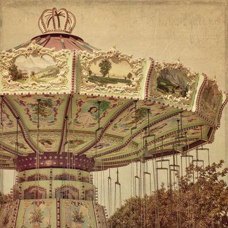 Carousel merry-go-round  at an amusement park