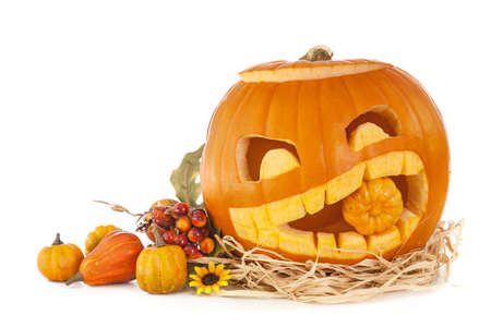 pumpkin face: Halloween pumpkins isolated on white background Stock Photo