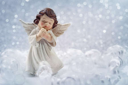 guardian angel: Christmas angel on silver background