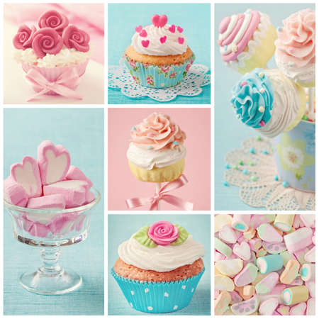 birthday cakes: Pastel colored  cupcakes and marshmallow collage Stock Photo