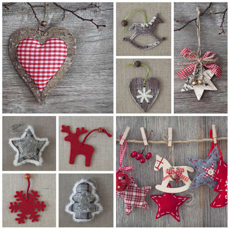 Collage of christmas photos over grey wood background Stock Photo - 15314367