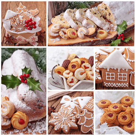 christmas food: Christmas gingerbread cookies and stollen cake collage Stock Photo