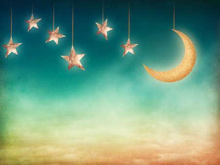 cielo estrellado: Tiempo de la noche con las estrellas y la luna