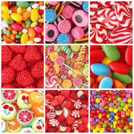bonbons: Collage von Fotos mit verschiedenen Süßigkeiten