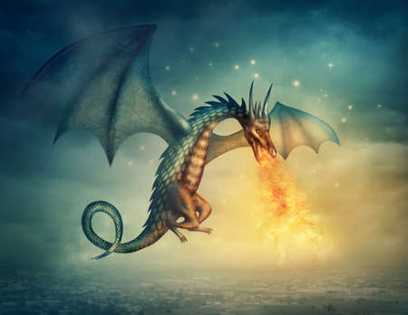 flying dragon: Flying fantasy dragon at night Stock Photo
