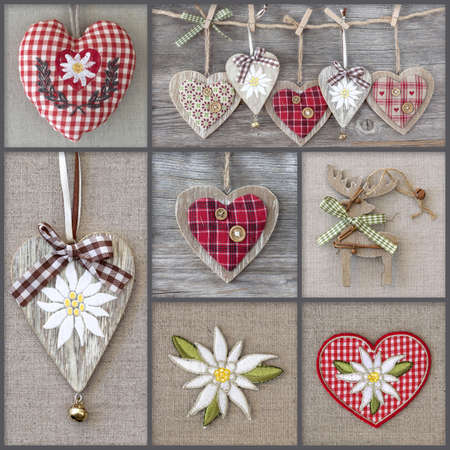 Collage of photos with hearts and edelweiss photo