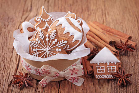 anise: Gingerbread cookies in gift box Stock Photo