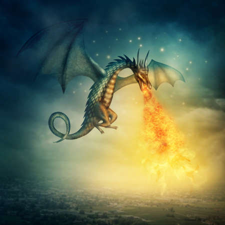 blue dragon: Flying fantasy dragon at night Stock Photo