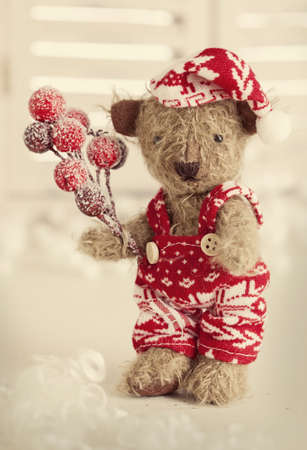 vintage teddy bears: Teddy bear with santa hat on white Stock Photo