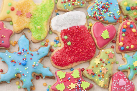Colorful decorated cookies, close up photo