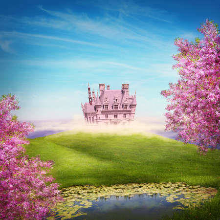 Fairy tale landscape with castle photo